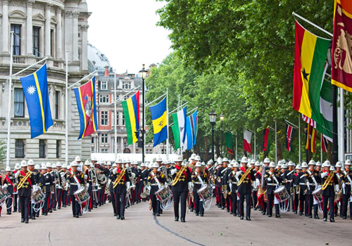 HM Royal Marines Beating Retreat parading through London