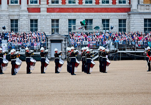 Buglers of HM Royal Marines Beating Retreat
